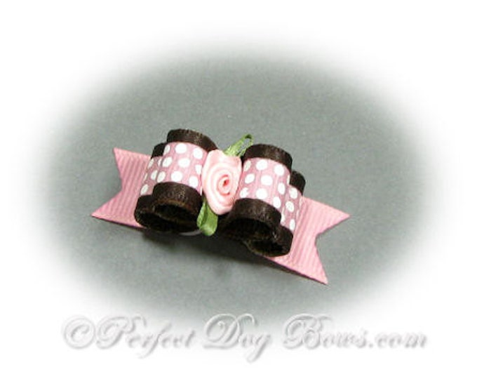 Pink Dots Dog Bow, Top Knot Bow, Grooming Bow, Bows for Dogs, Small Dog Bow, Girl Dog Bow