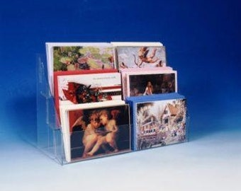 "Note Greeting Card Display Rack New Acrylic 3 Tier 16"" Counter Rack  Fits Most Size Cards"