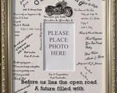Wedding  Harley Biker  Signature Mat Guest Book Gift Keepsake Photo Picture