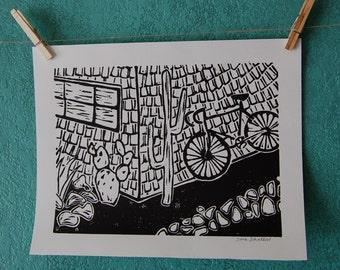 CACTI, BIKE - linocut print
