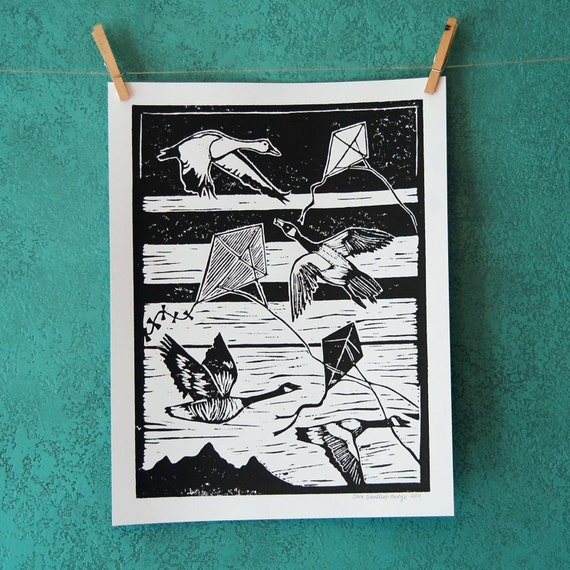 windy day - linocut print