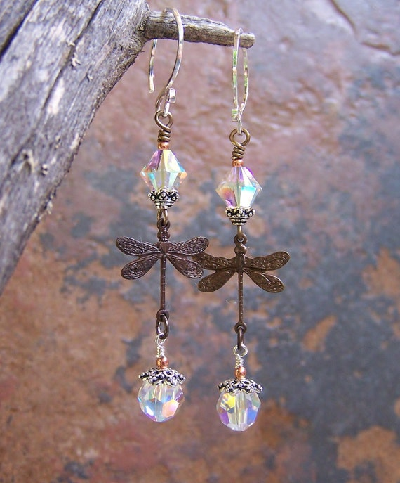 Dragonfly earrings with sterling silver, copper, brass, Swarovski crystal