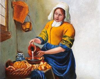 Art Print- The Milk Maid After Vermeer