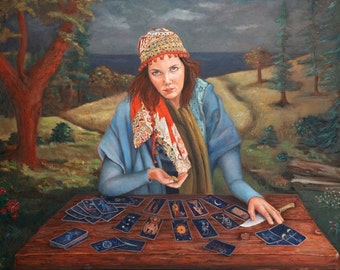 Figurative Art - Gypsy Fortune Teller - Available as Canvas or Poster Prints