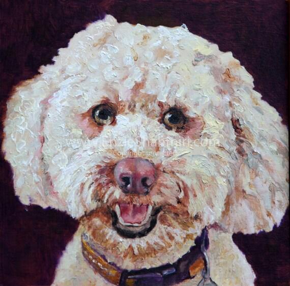 Labradoodle Pet Portrait  - Dog Portrait Print - Oil Painting