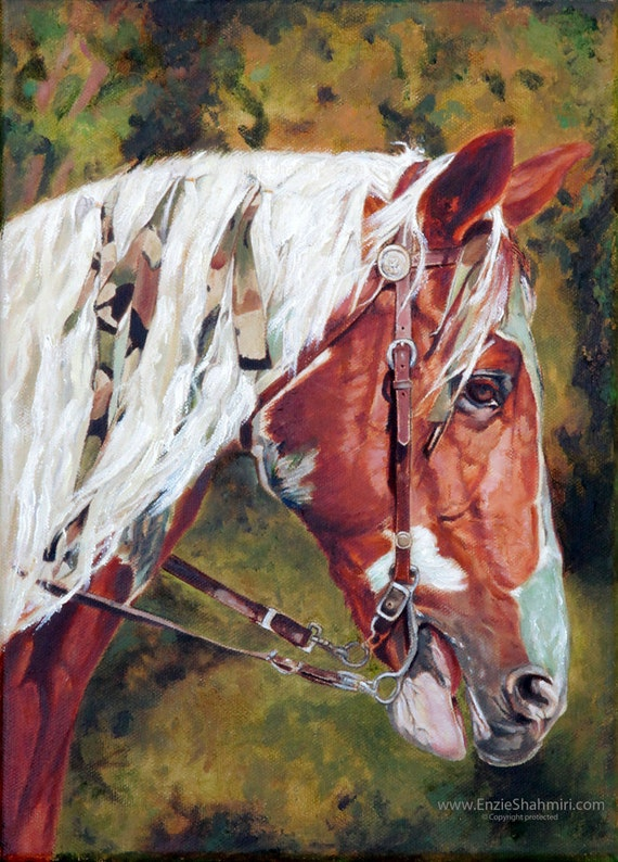 Custom Painted Horse Portrait - Horse Painting from your Photo - Portraits by NC
