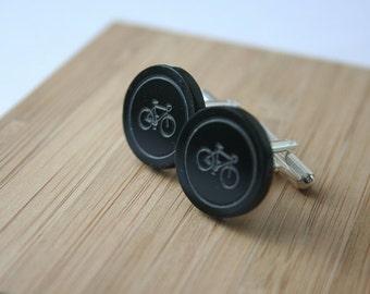 bicycle cufflinks,laser cut cufflinks,black cufflinks,hipster cufflinks,acrylic cufflinks,bike cufflinks,round cufflinks,circle cufflinks