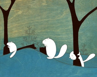 Beavers At  Work - Signed Art Print
