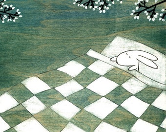 Napping Under Marshmallow Tree - Signed Art Print