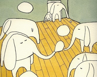 Elephants in the Living Room - Signed Art Print