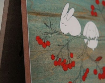 "Rabbits on Rowan Tree - 10""x8"" Mounted Print"