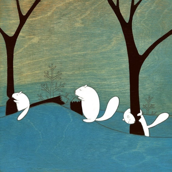 Beavers At  Work - Signed Art Print