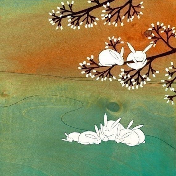 """A Story About Little Rabbits - 7""""x7"""" Signed Art Print"""