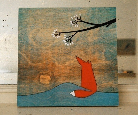 The Fox and the Marshmallows - 8x8 Mounted Print