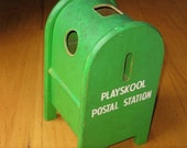 Vintage toy mailbox - cute, wooden and green
