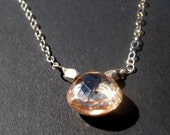 Beautiful Peach Zircon and Sterling Silver Necklace Fashion Jewelry and Accessories by Moore Taste on Etsy