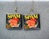 Spam 1970s Retro Kitsch Dangle Polymer Clay Junk Food Earrings Hypo Allergenic Nickle-Free