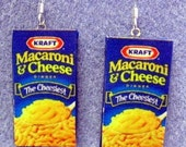 Kraft MACARONI AND CHEESE Polymer Clay Earrings Kitsch Dangle Polymer Clay Junk Food Earrings Hypo Allergenic Nickle-Free