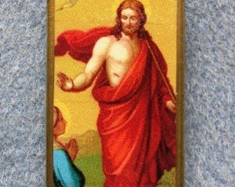 Jesus Christ Resurrection Lent Easter Catholic Art Recycled Domino Pendant RE1