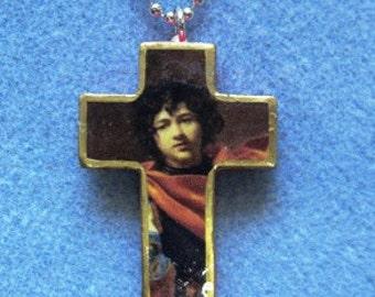 Saint William of Norcross Handmade Wood Catholic Crucifix Necklace