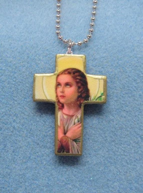 Saint Maria Goretti Catholic Handmade Wooden Crucifix Cross Art Necklace FREE US SHIPPING