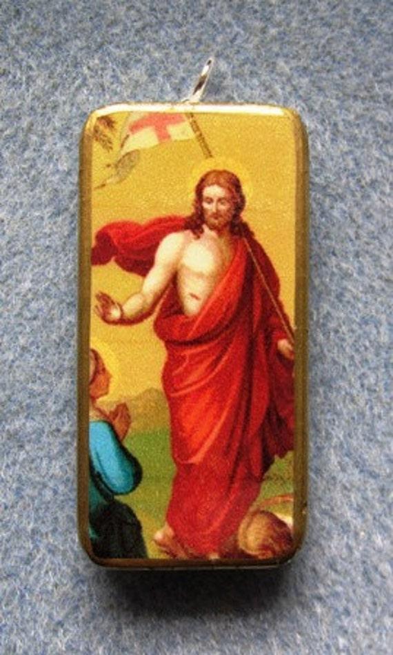 Jesus Christ Resurrection Lent Easter Catholic Art Recycled Domino Pendant RE1