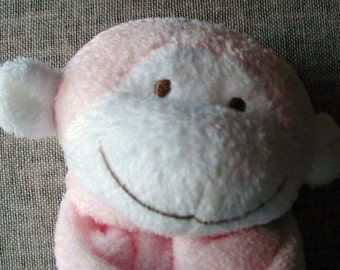 Pink Monkey Baby Blankie/Monogrammed Lovie/Angel Dear/Personalized Blankie/Security Blanket/Baby Blankie Gift/Animal Blankie