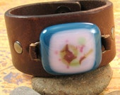 Upcycled Leather Wrist Cuff with Fused Glass Focal