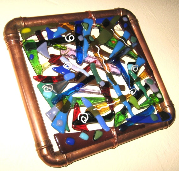 Fused Glass Wall Art: Modern Abstract Fused Glass And Copper Wall Art Or Suncatcher