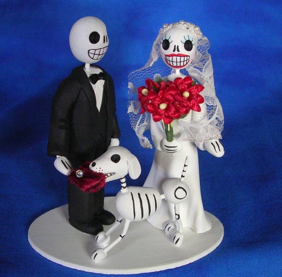 day of the dead skeleton wedding cake topper with dog