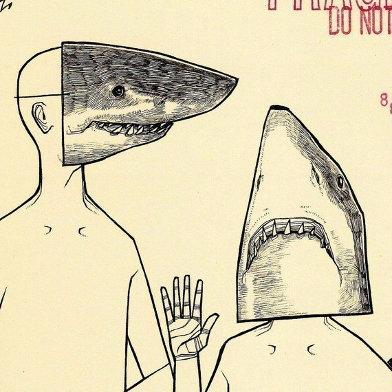Shark Masks two color shark week ocean sea life nautical animal mask anthopomorphic drawing art print