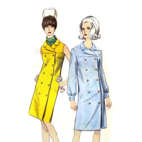 60s Coat Dress  Empire Waist vintage pattern 36-28-38 vogue mad men