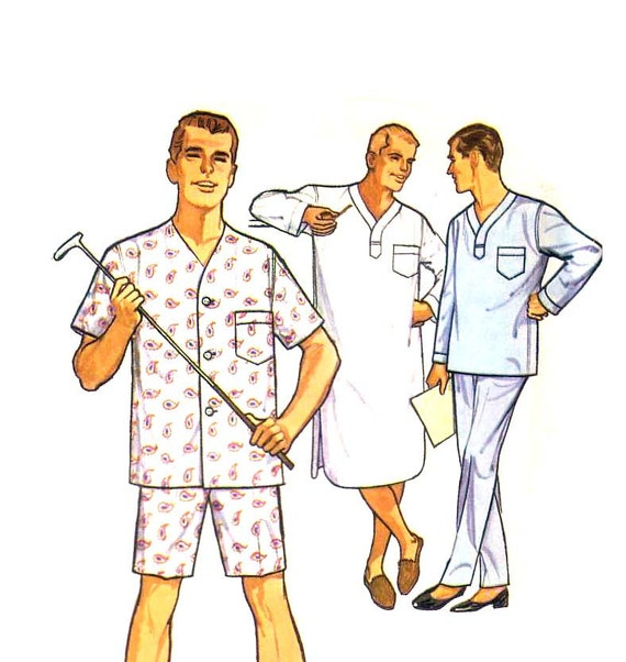 50s Mens Pajamas and Nightshirt vintage pattern size 42-44 large uncut mad men