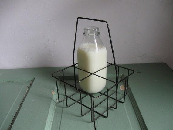 vintage black wire milk bottle carrier. Black Bedroom Furniture Sets. Home Design Ideas