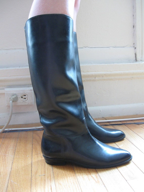 Vintage Black Rain Boots, Fleeced Lined by Andrew Geller Size 8