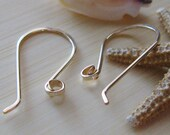 AGB artisan gold filled jewelery findings hammered earring wires Short Chacona 1 pair