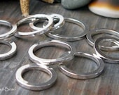 Quality handmade jewlery findings.  Closed sterling silver rings, square wire.  AGB 14mm Lotus 4 pieces.  Made to order.