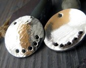 AGB artisan quality sterling silver jewelry findings thick 16mm textured discs Anax 2 pieces