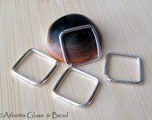 AGB artisan jewelery findings sterling silver or 14k gold filled 12mm square links Moria 4 pieces