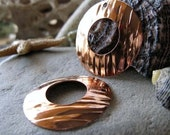 AGB artisan copper jewelry findings wood texture 28mm domed washers Midas 2 pieces