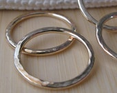 14k gold filled artisan handmade textured rings.  Sturdy 16 gauge AGB jewelry findings. Hammered 15mm circles.  Ariston 2 pieces.