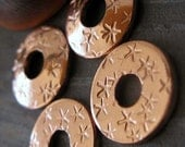 AGB artisan copper jewelry findings bead caps with stars  Rizpah 10mm 2 pieces
