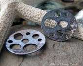 AGB artisan oxidized sterling silver jewelry findings 22mm unique handmade round discs Phoebe 2 Pieces