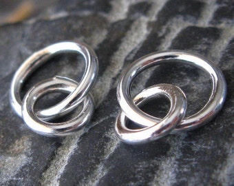AGB sterling silver artisan jewelry findings 16 guage interlocking rings Momus 2 pieces
