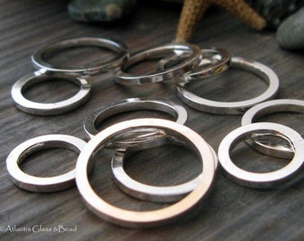 AGB handmade jewelry findings sterling silver round rings, square wire 12mm Lotus 4 pieces