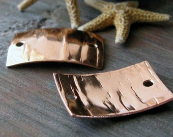AGB artisan copper jewelry findings wood grain rectangle links 19x13mm Apollonia 2 Pieces