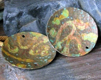 Artisan copper jewelry findings. Handmade large verdigris patina 25mm textured discs. AGB patinated Medora 2 Pieces. Made to Order.