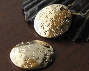 AGB artisan gold filled jewelry findings star stamped thick 16mm discs Zeva 2 pieces