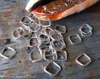 AGB artisan jewelry findings sterling silver, oxidized sterling silver or 14k gold filled 22 gauge square jump rings 4mm 50 pieces