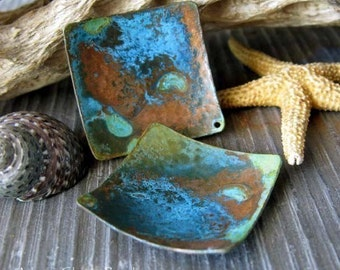 AGB artisan verdigris patina copper jewelry findings large domed squares 25mm Pueblo 2 pieces